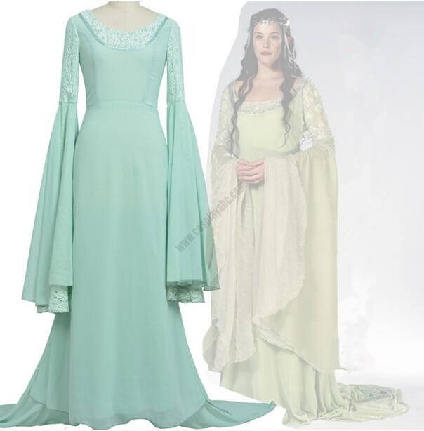 The Lord of the Rings Cosplay Arwen Costume Gown Lady Blue Dress Halloween Party