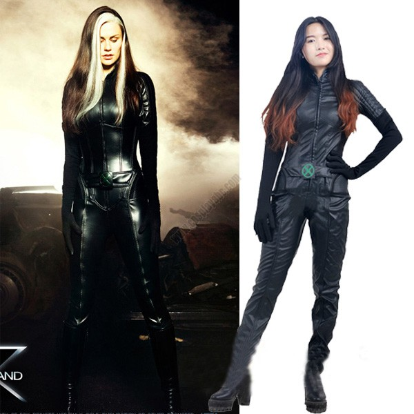 Adult Women Superhero Xmen Rogue Mary Cosplay Costume Leather Jumpsuit